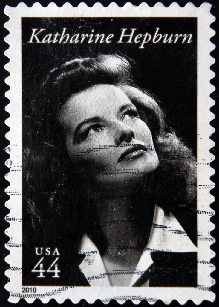 A stamp printed in USA shows Katharine Hepburn