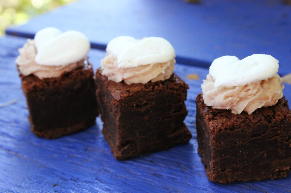 brownies with heart on blue