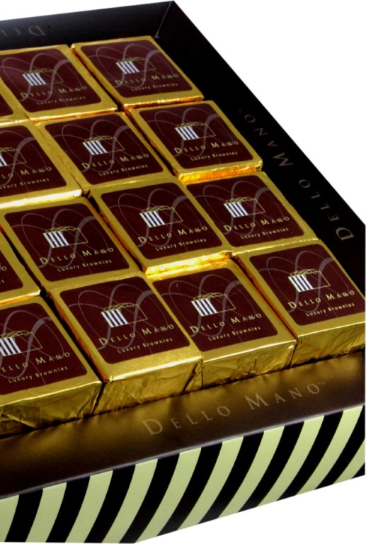 Dello Mano-Luxury Brownies -Classic 16 piece Gift Box - Close Up