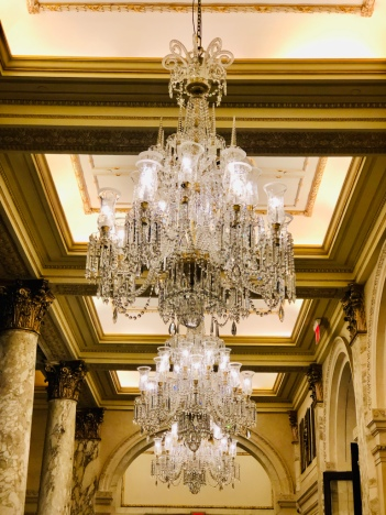 Plaza Hotel Interior chandelier as we enter for High Tea - New York